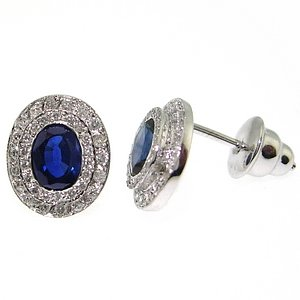 0.36ct. Diamond 1.50ct. Sapphire 18K Solid Gold Halo Earring