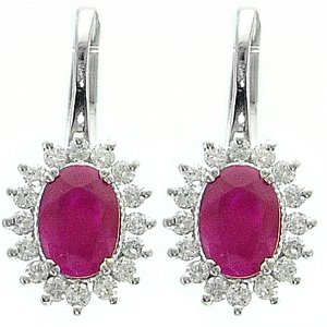 0.43ct. Diamond 2.01ct. Ruby 18K Solid Gold Halo Earring