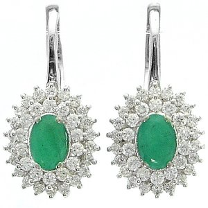 0.7ct. Diamond 0.92ct. Emerald 18K Solid Gold Halo Earring