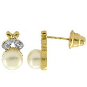 0.08ct. Diamond 18K Solid Gold Pearl Earring