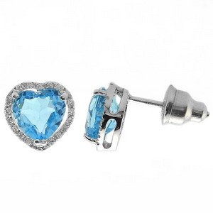 0.11ct. Diamond 18K Solid Gold Heart Blue Topaz Earring