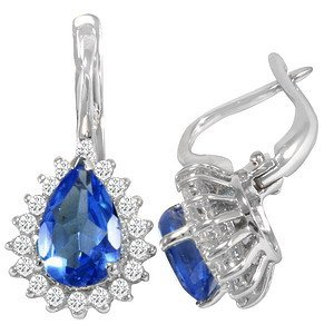0.52ct. Diamond 18K Solid Gold Halo Tanzanite Earring