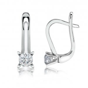 0.3ct. Diamond 18K Solid Gold Solitaire Earring