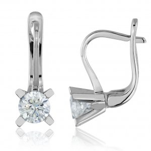 1ct. Diamond 14K Solid Gold Solitaire Earring