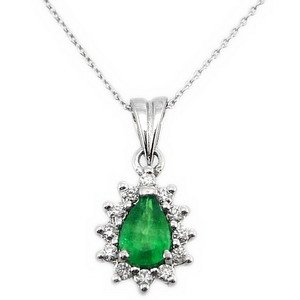 0.12ct. Diamond 0.36ct. Emerald 18K Solid Gold Halo Necklace