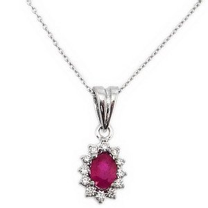 0.08ct. Diamond 0.28ct. Ruby 18K Solid Gold Halo Necklace