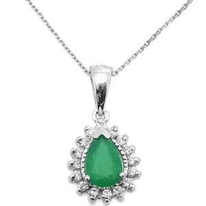 0.13ct. Diamond 0.40ct. Emerald 18K Solid Gold Halo Necklace