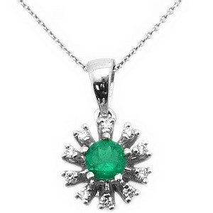 0.07ct. Diamond 0.26ct. Emerald 18K Solid Gold Necklace