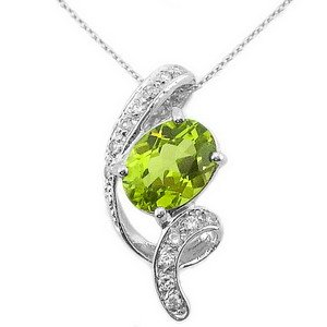 0.1ct. Diamond 14K Solid Gold Peridot Necklace