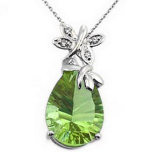0.02ct. Diamond 14K Solid Gold Butterfly Peridot Necklace