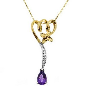 0.02ct. Diamond 18K Solid Gold Flower Amethyst Necklace