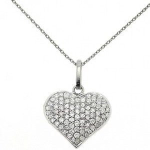 0.31ct. Diamond 18K Solid Gold Heart Necklace