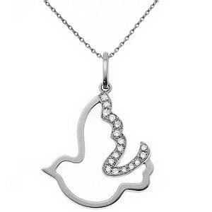 0.06ct. Diamond 18K Solid Gold Pigeon Necklace