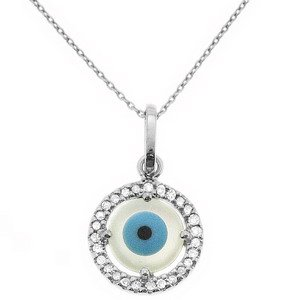 0.09ct. Diamond 14K Solid Gold Evil Eye Necklace