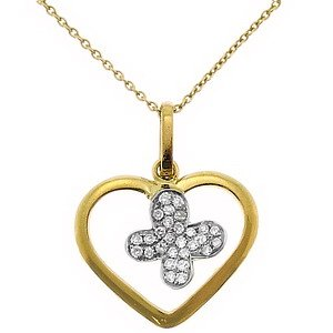 0.09ct. Diamond 18K Solid Gold Heart Butterfly Necklace