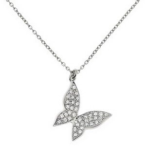 0.13ct. Diamond 14K Solid Gold Butterfly Necklace
