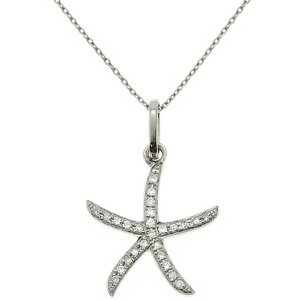 0.08ct. Diamond 18K Solid Gold Star Necklace