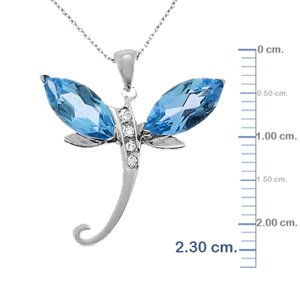 0.02ct. Diamond 14K Solid Gold Dragonfly Blue Topaz Necklace