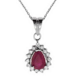 0.14ct. Diamond 0.51ct. Ruby 18K Solid Gold Halo Necklace