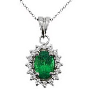 0.18ct. Diamond 0.55ct. Emerald 18K Solid Gold Halo Necklace