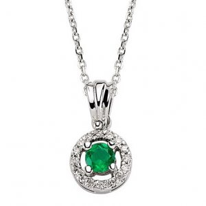0.07ct. Diamond 0.14ct. Emerald 18K Solid Gold Necklace