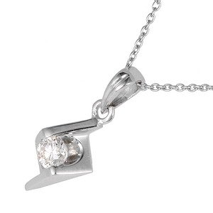 0.11ct. Diamond 18K Solid Gold Solitaire Necklace