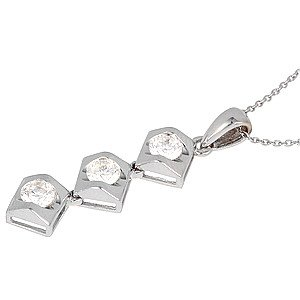 0.47ct. Diamond 18K Solid Gold 3 Stone Necklace