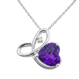 0.01ct. Diamond 14K Solid Gold Heart Amethyst Necklace