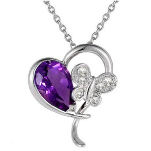 0.03ct. Diamond 14K Solid Gold Heart Butterfly Amethyst Necklace