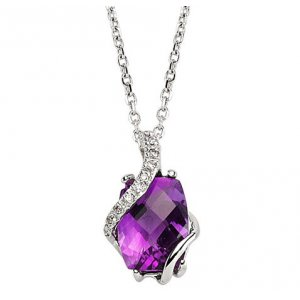 0.03ct. Diamond 14K Solid Gold Amethyst Necklace