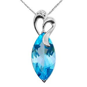 0.01ct. Diamond 14K Solid Gold Blue Topaz Necklace