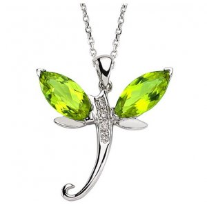 0.02ct. Diamond 14K Solid Gold Dragonfly Peridot Necklace