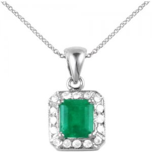 0.08ct. Diamond 0.60ct. Emerald 18K Solid Gold Necklace