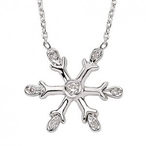 0.08ct. Diamond 14K Solid Gold Snow Flake Necklace