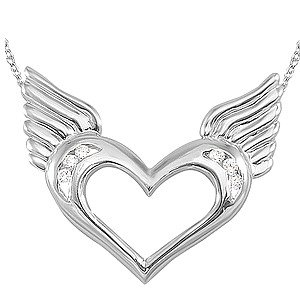0.06ct. Diamond 14K Solid Gold Heart Wing Necklace
