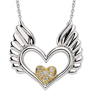 0.1ct. Diamond 14K Solid Gold Heart Wing Necklace