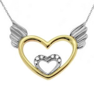 0.03ct. Diamond 14K Solid Gold Heart Wing Necklace