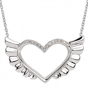 0.07ct. Diamond 14K Solid Gold Heart Wing Necklace