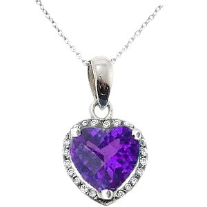 0.05ct. Diamond 18K Solid Gold Amethyst Necklace
