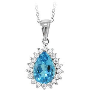 0.26ct. Diamond 18K Solid Gold Halo Blue Topaz Necklace