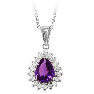 0.26ct. Diamond 18K Solid Gold Halo Amethyst Necklace
