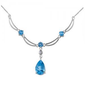 0.02ct. Diamond 14K Solid Gold Blue Topaz Necklace