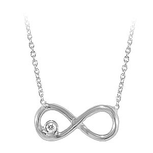 0.01ct. Diamond 14K Solid Gold Infinity Necklace