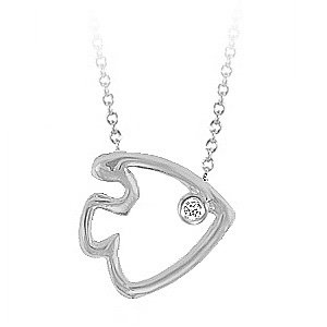 0.01ct. Diamond 14K Solid Gold Fish Necklace