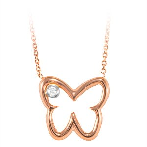0.01ct. Diamond 14K Solid Gold Butterfly Necklace