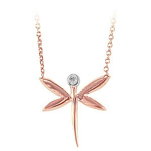 0.01ct. Diamond 14K Solid Gold Dragonfly Necklace