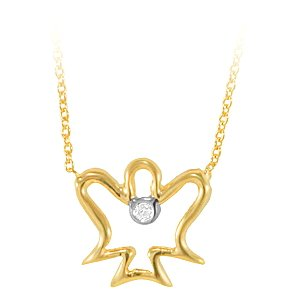 0.01ct. Diamond 14K Solid Gold Angel Necklace