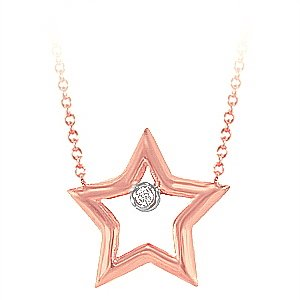 0.01ct. Diamond 14K Solid Gold Star Necklace