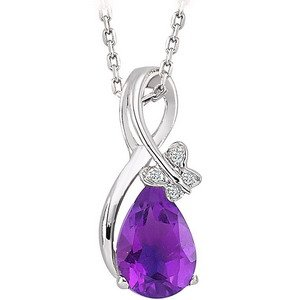0.02ct. Diamond 8K Solid Gold Modern Design Amethyst Necklace