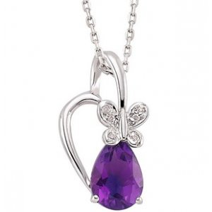 0.02ct. Diamond 8K Solid Gold Modern Design Butterfly Amethyst Necklace